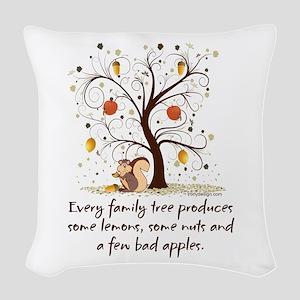Funny Family Tree Saying Desig Woven Throw Pillow