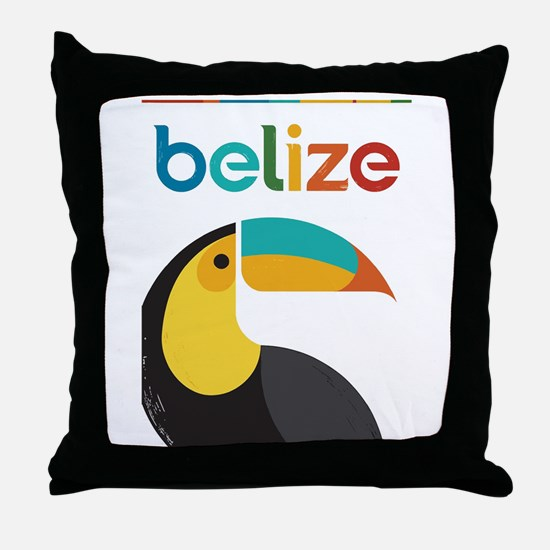 Belize Vintage Travel Poster with Toucan Throw Pil