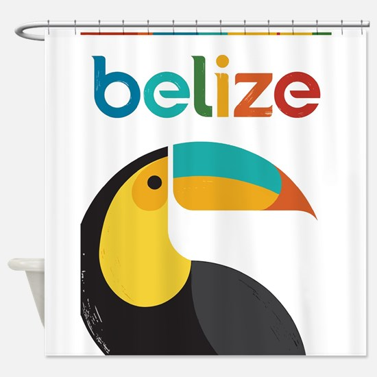 Belize Vintage Travel Poster With Shower Curtain
