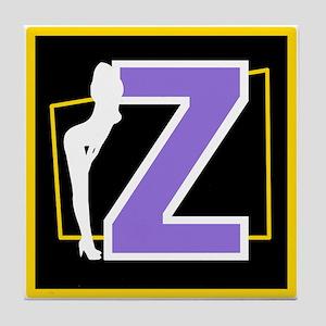 Naughty Initial Design (Z) Tile Coaster