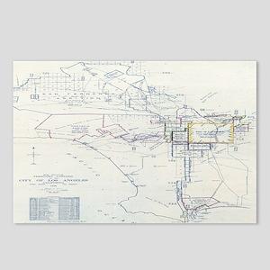 LA antique map. Postcards (Package of 8)
