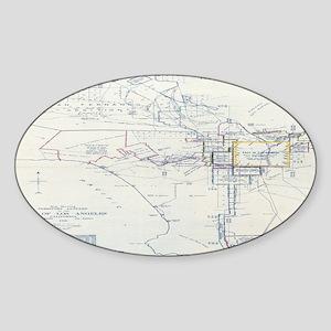 LA antique map. Oval Sticker