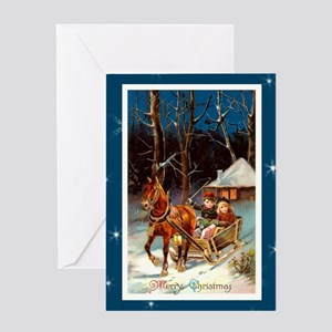 Children in Sled with Horse Greeting Card