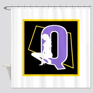 Naughty Initial Design (Q) Shower Curtain