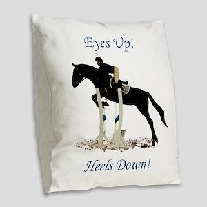 Eyes Up! Heels Down! Horse Burlap Throw Pillow