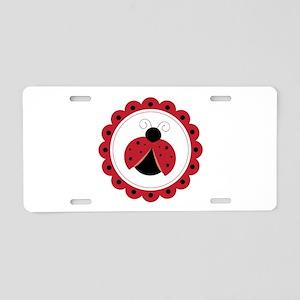 Ladybug Circle Aluminum License Plate