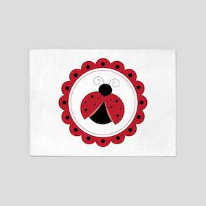Ladybug Circle 5'x7'Area Rug