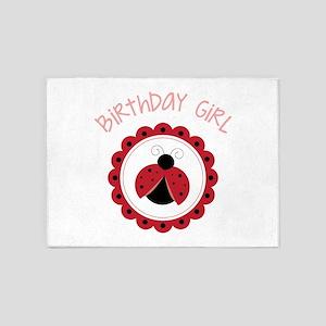 Ladybug Birthday Girl 5'x7'Area Rug