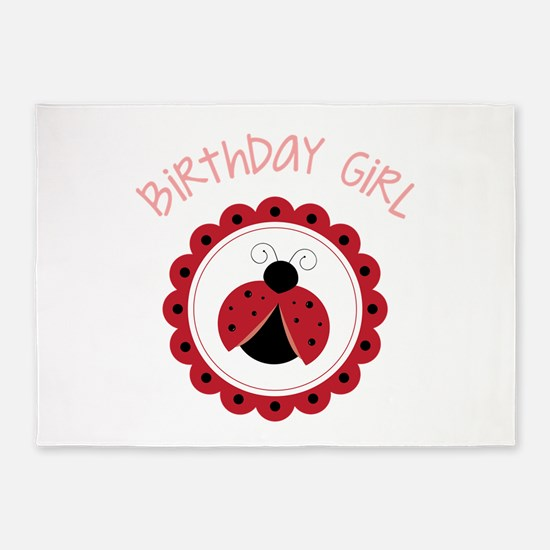 Ladybug Birthday Girl 5'x7'Area Rug