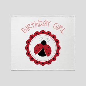 Ladybug Birthday Girl Throw Blanket
