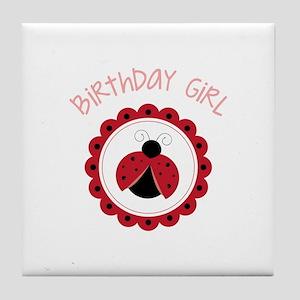 Ladybug Birthday Girl Tile Coaster