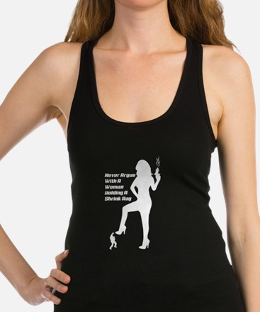 Woman With A Shrink Ray Racerback Tank Top