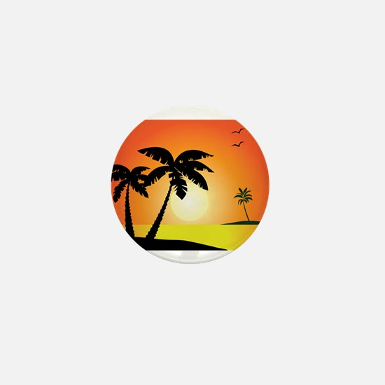 Tropical Sunset Mini Button