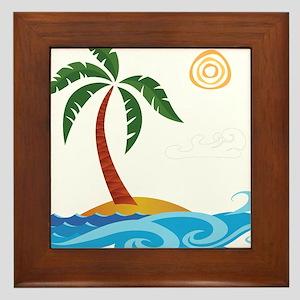 Palm Tree Cartoon Framed Tile