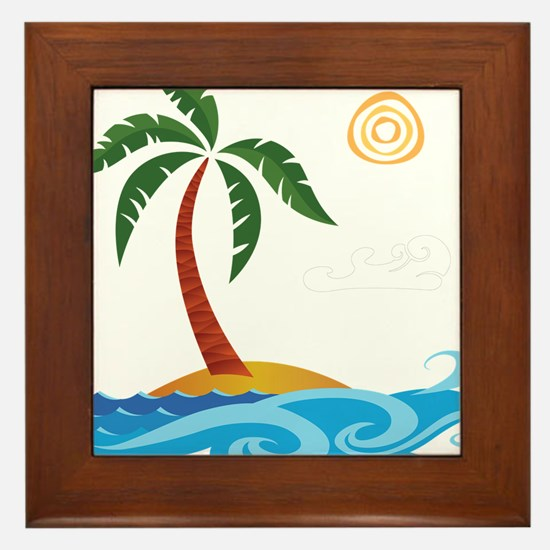 Palm Tree Cartoon Framed Tile