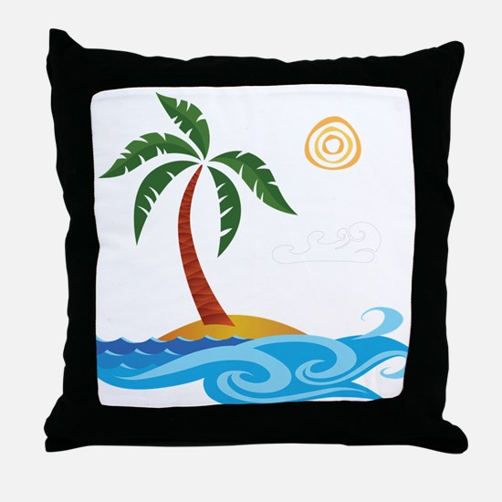 Palm Tree Cartoon Throw Pillow