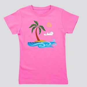 Palm Tree Cartoon Girl's Tee