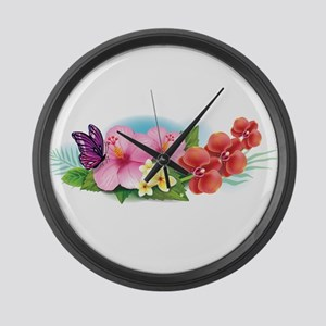 Tropical Banner Large Wall Clock