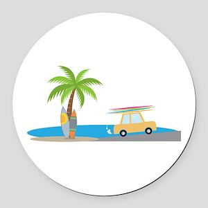 Surfer Beach Round Car Magnet