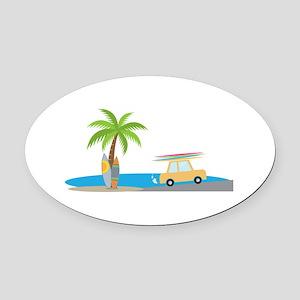 Surfer Beach Oval Car Magnet