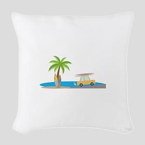 Surfer Beach Woven Throw Pillow