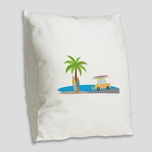 Surfer Beach Burlap Throw Pillow