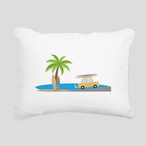 Surfer Beach Rectangular Canvas Pillow