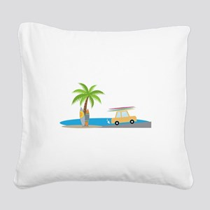 Surfer Beach Square Canvas Pillow