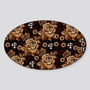 Copper Roses Sticker (Oval)