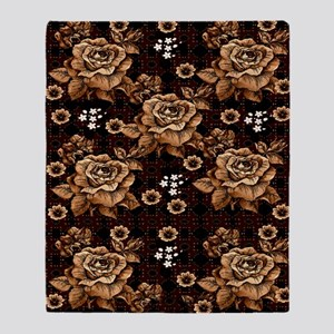 Copper Roses Throw Blanket