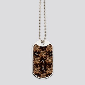 Copper Roses Dog Tags
