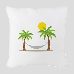 Hammock & Palms Woven Throw Pillow