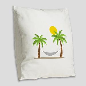 Hammock & Palms Burlap Throw Pillow