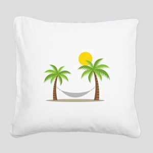 Hammock & Palms Square Canvas Pillow
