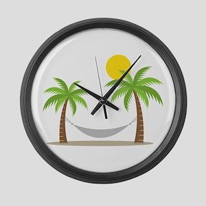 Hammock & Palms Large Wall Clock
