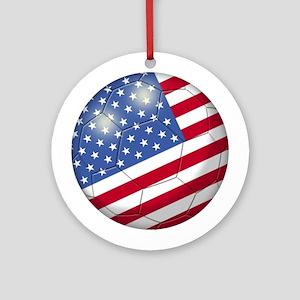 American Flag Soccer Ball (PP) Ornament (Round)