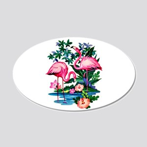 Wild Flamingos- 20x12 Oval Wall Decal