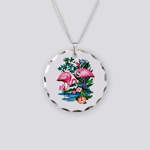 Wild Flamingos- Necklace Circle Charm