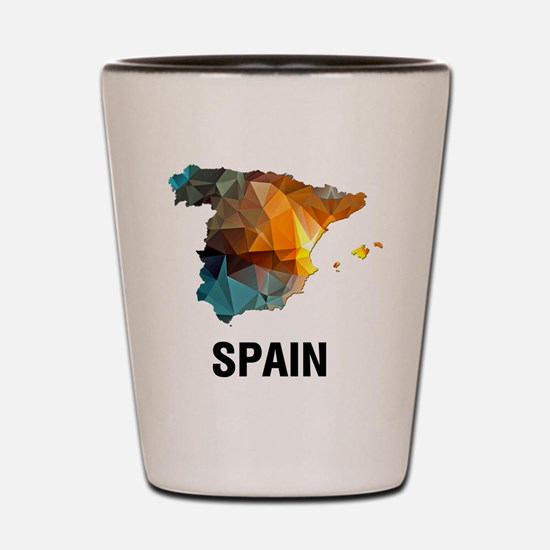 Polygon Mosaic Map of Spain Shot Glass