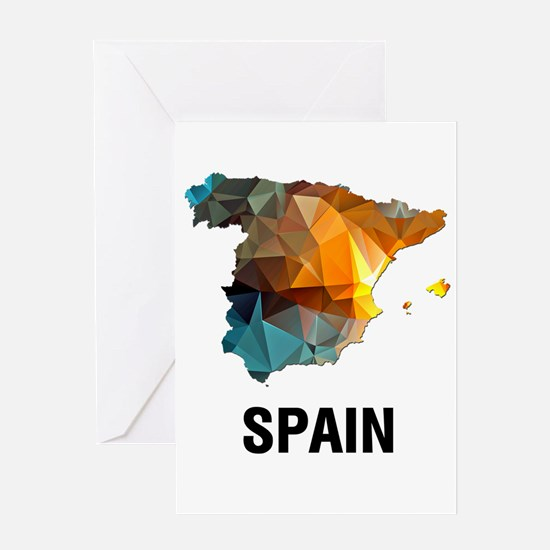 Polygon Mosaic Map of Spain Greeting Cards