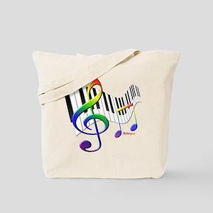 Keyboard & Treble Clef Tote Bag