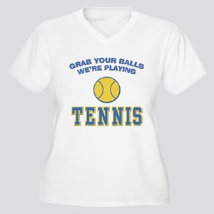 Grab Your Balls Tennis Women's Plus Size V-Neck T-