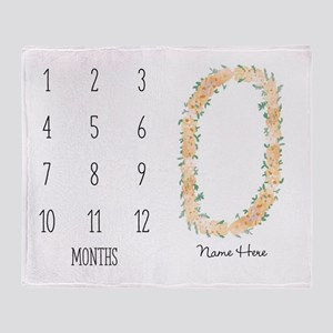 Baby Milestones Flowers Personalized Throw Blanket