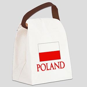 Poland Flag Design Canvas Lunch Bag
