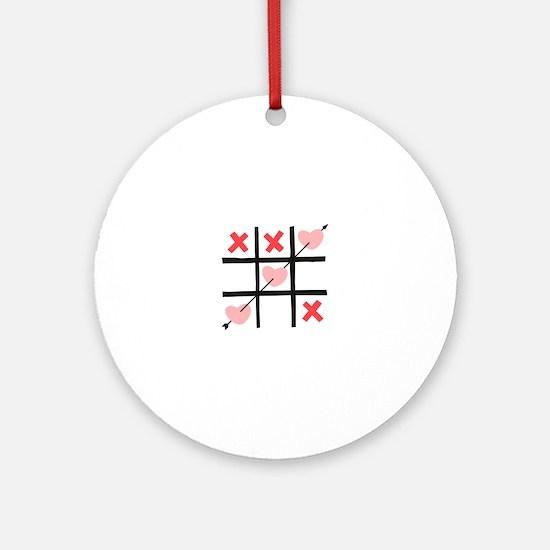 Tic Tac Toe Hearts Ornament (Round)