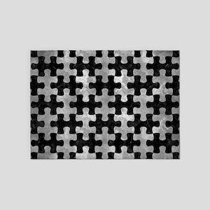 PUZZLE1 BLACK MARBLE & GRAY METAL 2 5'x7'Area Rug