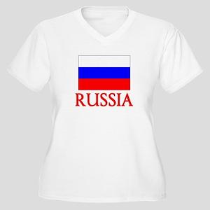 Russia Flag Design Plus Size T-Shirt