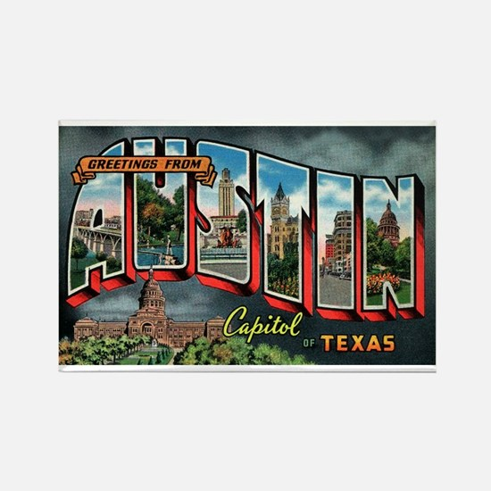 City Of Austin Postcard Rectangle Magnet