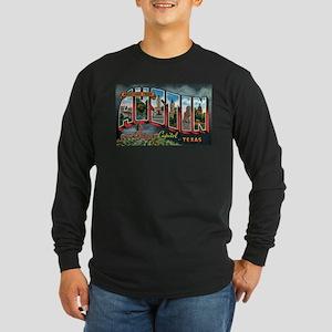 City Of Austin Postcard Long Sleeve Dark T-Shirt
