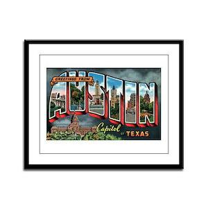City Of Austin Postcard Framed Panel Print
